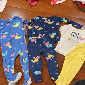 Set of 3 whale pajamas